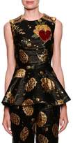Dolce & Gabbana Sleeveless Jacquard Peplum Top w/ Heart Applique