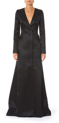 Carolina Herrera Long-Sleeve Satin Suit Gown