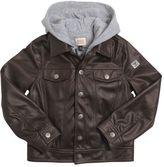Armani Junior Faux Leather & Cotton Interlock Jacket