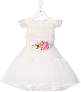 MonnaLisa Flower Belt Puff Dress