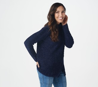 Denim & Co. Chenille Long-Sleeve Sweater with Cable Detail