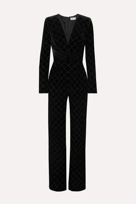 Raquel Diniz Lisa Metallic Embroidered Velvet Jumpsuit - Black
