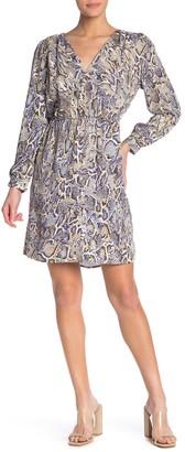 Velvet Heart Genive Surplice Snake Print Mini Dress