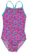 Slazenger Kids Bound Back Swimming Costume Junior Girls Pattern Spaghetti Straps