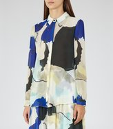 Reiss Celina - Printed Shirt in Blue, Womens