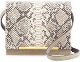 Brian Atwood Sadie Snake-Embossed Leather Crossbody Bag, Taupe
