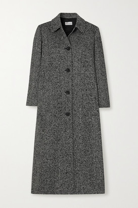 RED Valentino Pleated Herringbone Tweed Coat - Black