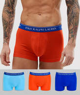 Polo Ralph Lauren 3 pack classic trunks with navy logo waistband in brights