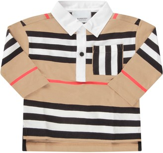Burberry Beige Polo For Baby Boy Shirt With Stripes