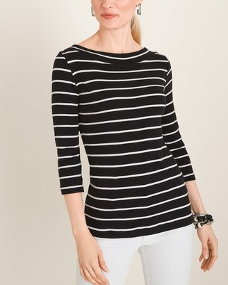 Chico's Chicos Convertible Striped Supima Cotton Twist-Neck Tee