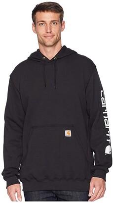Carhartt Midweight Signature Sleeve Logo Hooded Sweatshirt (Black) Men's Sweatshirt