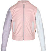 Molo Hope Colorblock Leather Moto Jacket, Pink, Size 4-14