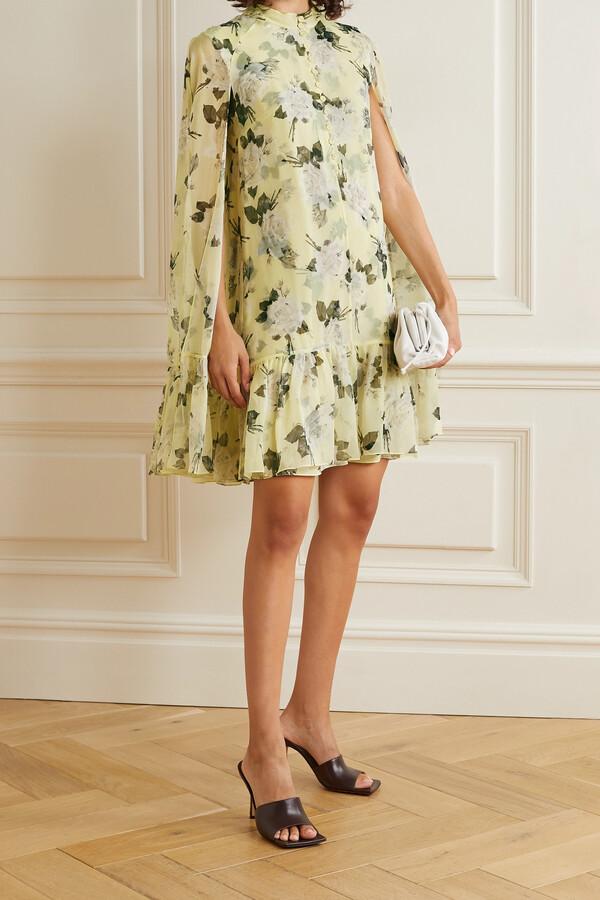 Thumbnail for your product : Erdem Constantine Cape-effect Floral-print Silk-voile Mini Dress - Yellow