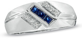 Zales Men's Princess-Cut Lab-Created Blue Sapphire and Diamond Accent Ring in 10K White Gold