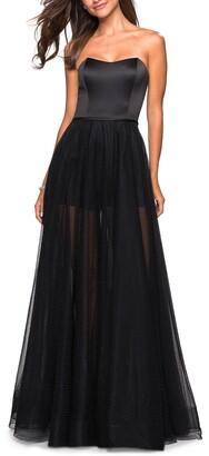 La Femme Strapless Satin Chiffon Gown
