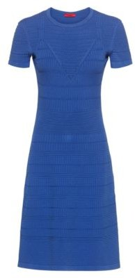 HUGO BOSS Super-stretch knitted dress with mixed structures