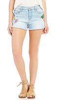 Celebrity Pink High Rise Frayed Hem Patch Distressed Stretch Denim Shorts