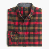 J.Crew Cotton-wool elbow-patch shirt in warm red tattersall