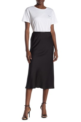French Connection Alessia Satin Drape Midi Skirt
