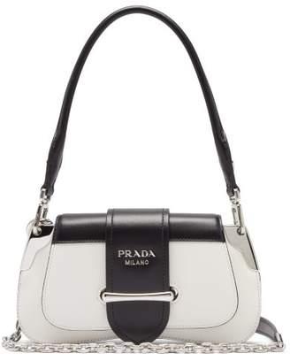Prada Sidonie Two-tone Leather Shoulder Bag - Womens - White Black