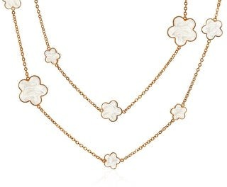 Bling Jewelry White Cream Clover Flower Rose Gold Plated Chain Wrap Layer Necklace - 36