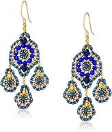 Miguel Ases Quartz and Swarovski 3-Drop Earrings