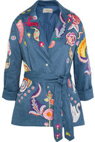 Temperley London Hermia Embroidered Stretch Linen And Wool-blend Jacket - Blue