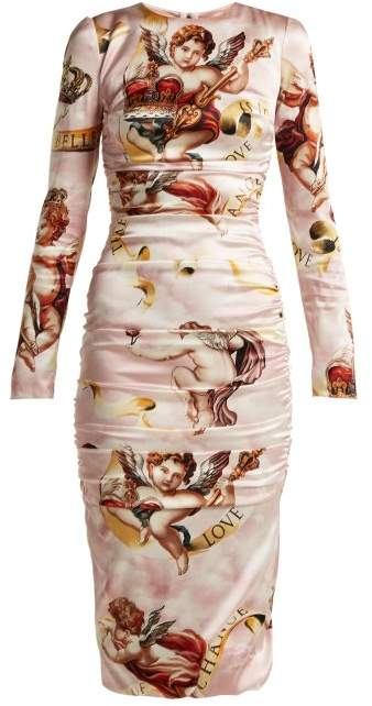Dolce & Gabbana Angel Print Satin Midi Dress - Womens - Pink Print