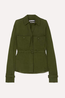 Jacquemus Enna Belted Twill Shirt - Army green