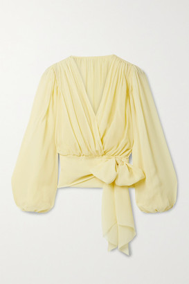 Dolce & Gabbana - Silk-chiffon Wrap Top - Pastel yellow