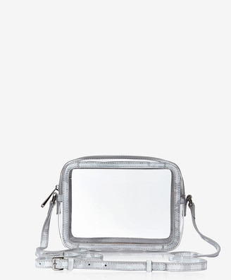 GiGi New York Collins Crossbody, Clear Bag with Silver Camo Trim