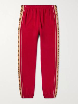 Gucci Tapered Logo-Appliqued Webbing-Trimmed Piped Velvet Sweatpants