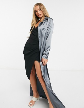 I SAW IT FIRST satin collared long sleeve shirt in grey