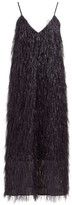 Raey V-neck Tinsel Midi Slip Dress - Womens - Black