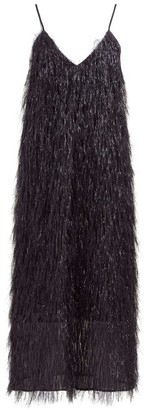 Raey V-neck Tinsel Midi Slip Dress - Black
