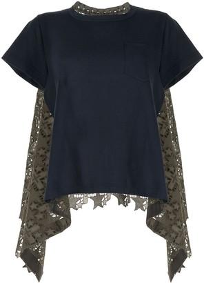 Sacai embroidered panel cotton T-shirt