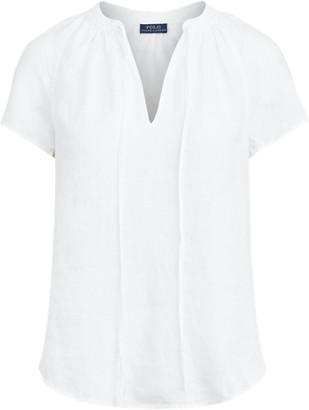 Ralph Lauren Linen Tie-Neck Blouse