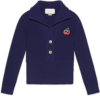 Gucci Wool knit polo with GG apple patch