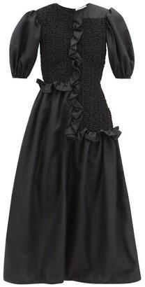 Cecilie Bahnsen Camden Ruffled Faille Midi Dress - Black