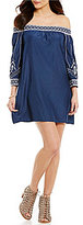 Sugar Lips Sugarlips Off-the-Shoulder 3/4 Sleeve Embroidered Dress