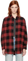 R 13 Red and Black X-Oversized Plaid Shirt
