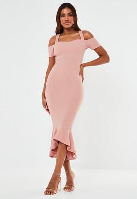 Missguided Blush Crepe Cold Shoulder Frill Hem Midi Bridesmaid Dress