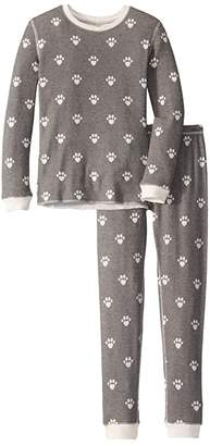 PJ Salvage Kids Animal Lover Paw Peachy Two-Piece Jammie Set (Toddler/Little Kid/Big Kid) (Charcoal) Kid's Pajama Sets