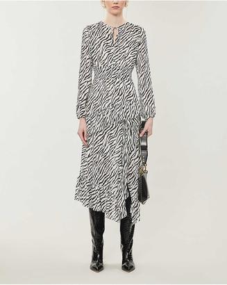 Maje Ribou zebra-printed woven midi dress
