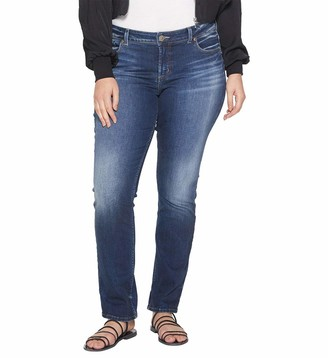Silver Jeans Co. Women's Plus Size Elyse Curvy Fit Mid Rise Straight Leg Jean