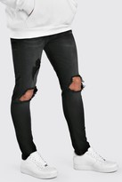 boohoo Mens Black Skinny Jeans With Busted Knees, Black