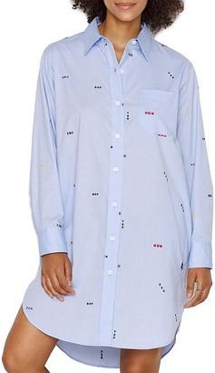 Sleepy Jones Korda Monogram Woven Night Shirt