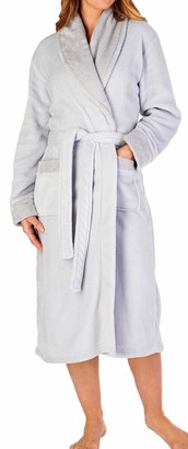"Slenderella Ladies 46""/116cm Soft Grey Coral Fleece Plain Self Tie Belt Shawl Collared Bath Robe Dressing Gown House Coat XXXL 28 30"