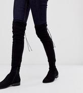 Asos DESIGN Wide Fit Wide Leg Kayden flat thigh high boots in black