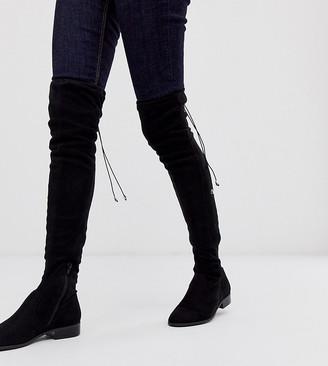 Asos Design DESIGN Wide Fit Wide Leg Kayden flat thigh high boots in black
